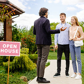 First time home buyers talking to realtors